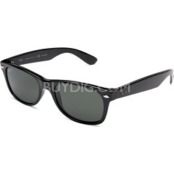 New Wayfarer Black Frame, Polarized Green Lens 52mm Sunglasses