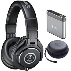 ATH-M40x Professional Headphones with FiiO A1 Amplifier + HardBody Case Bundle