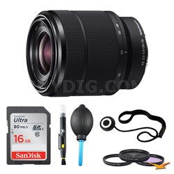 SEL2870 FE 28-70mm F3.5-5.6 OSS Lens and 16 GB Memory Card Bundle