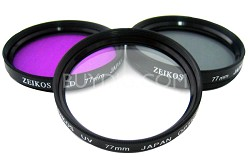 77mm UV, Polarizer & FLD Deluxe Filter kit (set of 3 + carrying case)