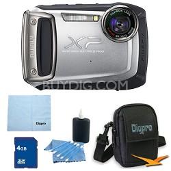 Finepix XP100 14MP CMOS Digital Camera 4 GB Bundle (Silver)