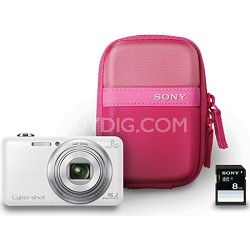 DSC-WX80 16 MP 2.7-Inch LCD Digital Camera - White Bundle