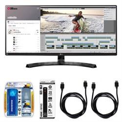 "UltraWide WQHD IPS LED 34"" Monitor w/ Accessory Hook up Bundle"