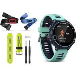 Forerunner 735XT GPS Running Watch Tri-Bundle with Yellow Band - Midnight Blue