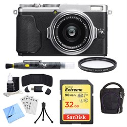 X-70 X Series Silver Digital Camera with 18.5mm Lens, 32GB Card, and Case Bundle