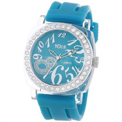 """""""Crystal 8"""" Analog Watch Turquoise with Crystals - 40314"""