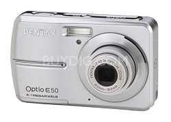 "Optio E50 8 MP 2.4"" LCD 3x Zoom Digital Camera (Silver)"