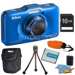 COOLPIX S31 10.1MP 720p HD Video Waterproof Digital Camera - Blue Plus 16GB Kit