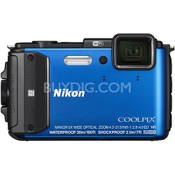 COOLPIX AW130 16MP 1080p Waterproof Shockproof Freezeproof Blue Digital Camera