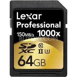 64GB Professional 1000x SDHC/SDXC Class 10 UHS-II Memory Card Up to 150 MB/s