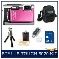 Stylus Tough 6020 Waterproof Shockproof Digital Camera (Pink) w/ 8 GB Memory