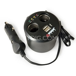 EL2537-5 Twin USB and 12-Volt DC Cup Holder Power Adapter