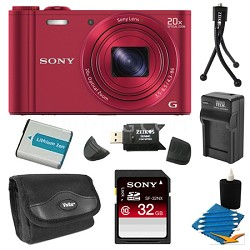 DSC-WX300/R Red Digital Camera 32GB Bundle
