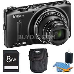 COOLPIX S9500 18.1 MP 22x Zoom Built-In Wi-Fi Digital Camera Black Plus 8GB Kit