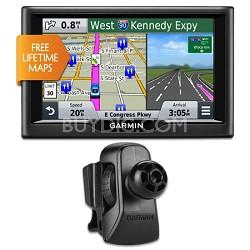 "nuvi 58LM 5"" Essential Series 2015 GPS System wLifetime Maps Vent Mount Bundle"