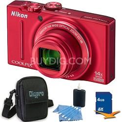 COOLPIX S8200 Red 14x Zoom 16MP Digital Camera 4GB Bundle