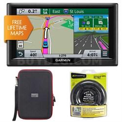 """nuvi 67LM 6"""" Essential Series 2015 GPS w Lifetime Maps Mount & Case Bundle"""