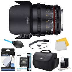 DS 50mm T1.5 Full Frame Wide Angle Cine Lens for Nikon Mount Accessory Bundle