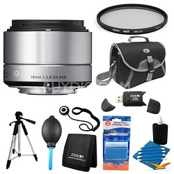 19mm F2.8 EX DN ART Silver Lens for Micro Four Thirds Filter Bundle