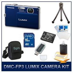 DMC-FP3AB LUMIX 14.1 MP Digital Camera (Blue), 16GB SD Card, and Camera Case