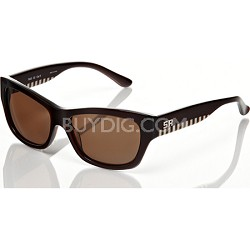 Brown Frame with Brown Lens & Checkerd Arm Detail Sunglasses