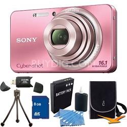 Cyber-shot DSC-W570 Pink Digital Camera 8GB Bundle