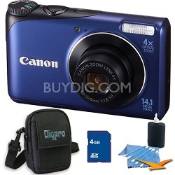 PowerShot A2200 14MP Blue Digital Camera 4GB Bundle