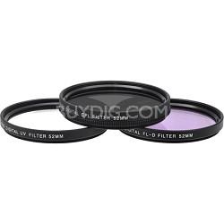 52mm UV, Polarizer & FLD Deluxe Filter kit (set of 3 + carrying case)