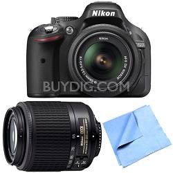 D5200 24.1 MP DSLR Camera 18-55mm Lens Kit w/ 55-200mm Lens Refurbished Bundle