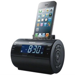 Lightning iPhone/iPod Clock Radio Speaker Dock (Black) - OPEN BOX
