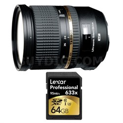 SP 24-70mm f2.8 Di VC USD Lens and 64GB Card Bundle