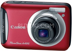 PowerShot A495 10 Mega Pixel with 3.3x Optical Zoom Digital Camera (Red)