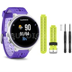 Forerunner 230 GPS Running Watch, Purple Strike - Force Yellow Watch Band Bundle