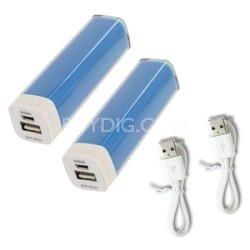 2600mAh Battery Bank Charger with Micro-USB Charging Cable - 2 Pack Blue