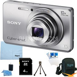 Cyber-shot DSC-W690 16MP 10X Zoom 720p Video Digital Camera (Silver) 4GB Bundle