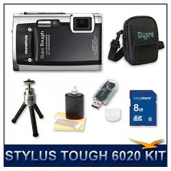Stylus Tough 6020 Waterproof Shockproof Digital Camera (Black) w/ 8 GB Memory