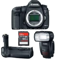 EOS 5D Mark III 22.3 MP  Digital SLR 24-105mm Lens+ 600EX-RT Flash, BGE11 Grip