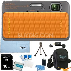 Cyber-shot DSC-TX20 16.2 MP Waterproof Shockproof Camera (Orange) 16GB Bundle