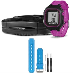 Forerunner 25 GPS Fitness Watch w/ Heart Rate Monitor Small Purple - Blue Bundle