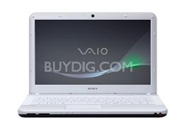 VAIO VPCEA44FX/WI 14-Inch Entertainment Laptop (White) Intel Core i3-380M