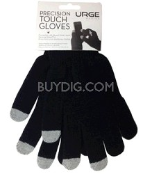 Precision Touchscreen Gloves for Tablets and Touchscreen Phones (Black)
