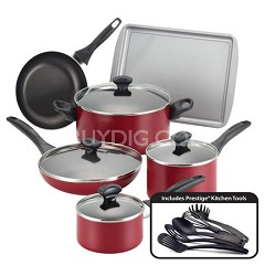 21807 Dishwasher Safe Nonstick 15-Piece Cookware Set, Red
