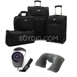 "6 Piece Set 28.5"" & 20.5"" Spinners, Boarding bag, Duffel Scale & Pillow - Black"
