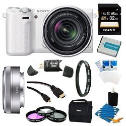 NEX-3NL White Digital Camera 16-50mm Lens 32GB 16mm f/2.8 Lens Bundle