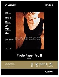 "Photo Paper Pro II 8.5"" X 11"" - 20 Sheets"