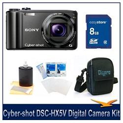 Cyber-shot DSC-HX5V 10.2 MP Digital Camera, 8GB SD Card, and Camera Case