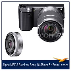 Alpha NEX-5 Interchangeable Lens Black Camera w/ 18-55mm & 16mm f/2.8 Lenses