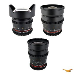 Canon EF 3 Cine Lens Kit (14mm T3.1, 24mm T1.5, 35mm T1.5)