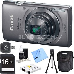 PowerShot ELPH 160 20MP 8x Opt Zoom HD Digital Camera - Silver 16GB Bundle