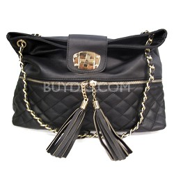 PU Quilted Front Handbag with Tassels (Black) - 3038